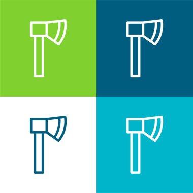 Axe Flat four color minimal icon set stock vector