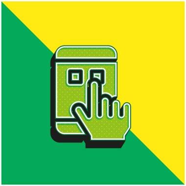 App Green and yellow modern 3d vector icon logo stock vector