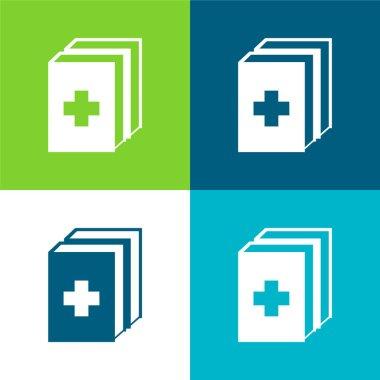 2 Medicine Kit Flat four color minimal icon set stock vector