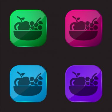 Apple And Grapes On A Bowl four color glass button icon stock vector