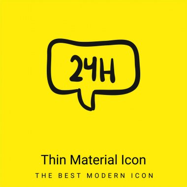 24 Hours In Speech Bubble Hand Drawn Commercial Signal minimal bright yellow material icon stock vector