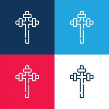 Aaronic blue and red four color minimal icon set stock vector
