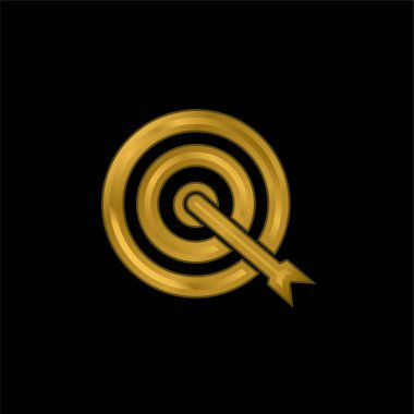 Arrow Shoot On Target Center gold plated metalic icon or logo vector stock vector