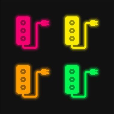 Adaptor four color glowing neon vector icon stock vector