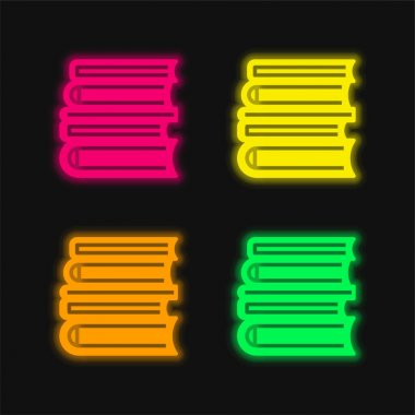 Books four color glowing neon vector icon stock vector