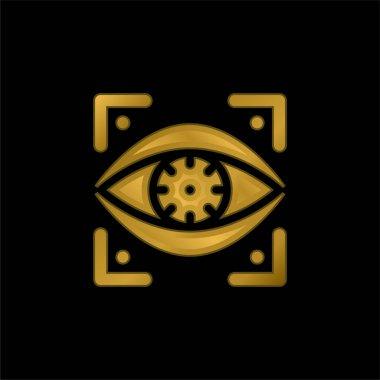 Bionic Eye gold plated metalic icon or logo vector stock vector