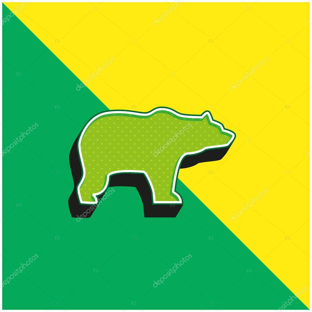 Bear Facing Right Green and yellow modern 3d vector icon logo stock vector