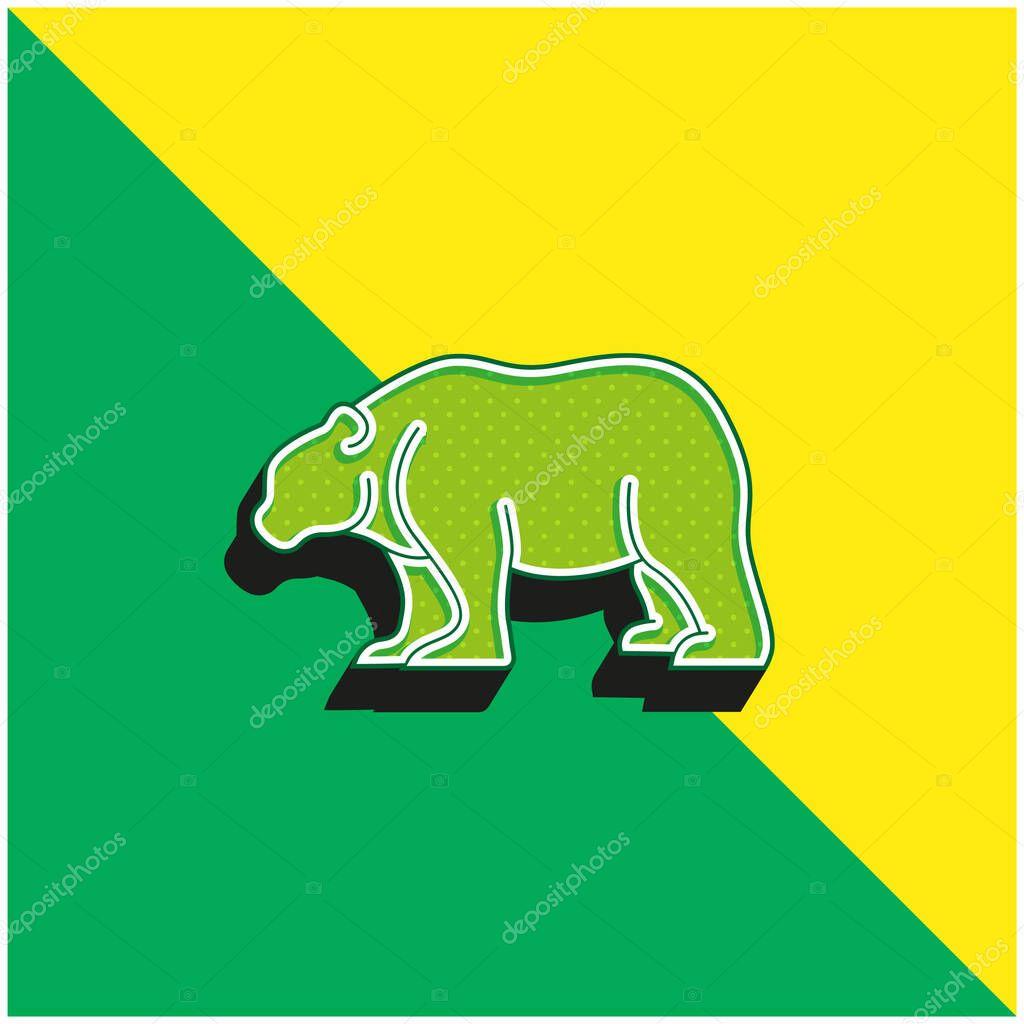 Bear Green and yellow modern 3d vector icon logo stock vector