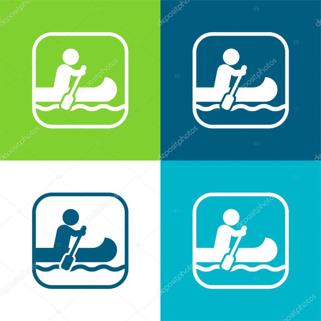 Nautica segno piatto quattro colori minimo set di icone