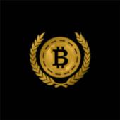 Bitcoin mit Olivenblättern auf beiden Seiten vergoldet metallisches Symbol oder Logo-Vektor
