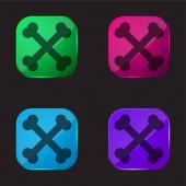 Bones Crossed čtyři barevné sklo tlačítko ikona