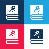 Buch blau und rot vier Farben minimalen Symbolsatz