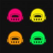 Amerikai futball játékos sisak négy színű izzó neon vektor ikon