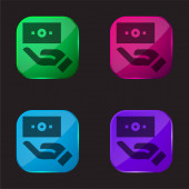 Ikona tlačítka Bill čtyři barvy skla
