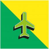 Letadlo Zelená a žlutá moderní 3D vektorové logo ikony