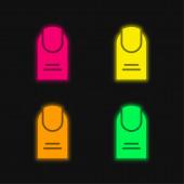 Big Finger négy színű izzó neon vektor ikon