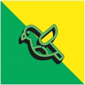Vogel Grünes und gelbes modernes 3D-Vektor-Symbol-Logo