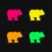 Bear four color glowing neon vector icon