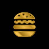 Großes Hamburger vergoldetes Metallic-Symbol oder Logo-Vektor