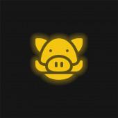 Vaddisznó sárga izzó neon ikon