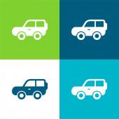 4x4 Car Side View Lapos négy szín minimális ikon készlet