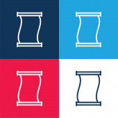 Ancient Paper Scroll Outline blau und rot vier Farben minimalen Symbolsatz