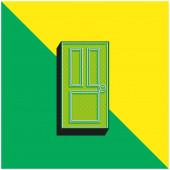 Black Door Zelené a žluté moderní 3D vektorové logo