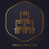 Doboz arany vonal prémium logó vagy ikon