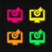 Pfeil vier Farbe leuchtenden Neon-Vektor-Symbol
