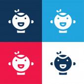 Baby modrá a červená čtyři barvy minimální ikona nastavena