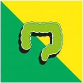 Großer Darm Grünes und gelbes modernes 3D-Vektor-Symbol-Logo