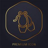 Ballerina zlatá čára prémie logo nebo ikona