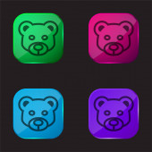 Bear Head Frontal vázlat négy színű üveg gomb ikon