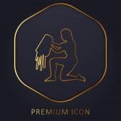 Aquarius Water Carrier Sign Silhouette goldene Linie Premium-Logo oder Symbol
