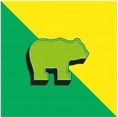Bear Green and yellow modern 3d vector icon logo