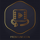 360 Videó arany vonal prémium logó vagy ikon
