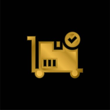 Box gold plated metalic icon or logo vector stock vector