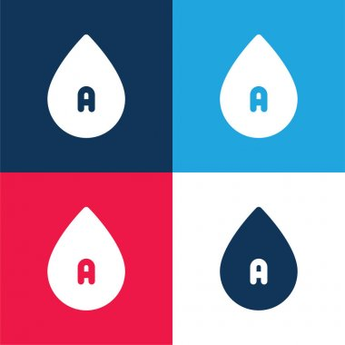 Blood blue and red four color minimal icon set stock vector