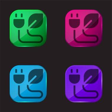 Bio Energy four color glass button icon stock vector