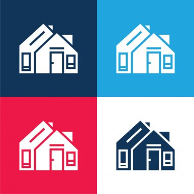 Address blue and red four color minimal icon set stock vector