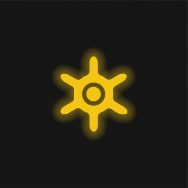 Boat Wheel yellow glowing neon icon stock vector