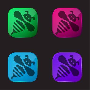 Bee four color glass button icon stock vector