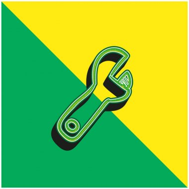 Adjustable Spanner Hand Drawn Construction Tool Green and yellow modern 3d vector icon logo stock vector