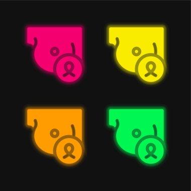 Breast four color glowing neon vector icon stock vector