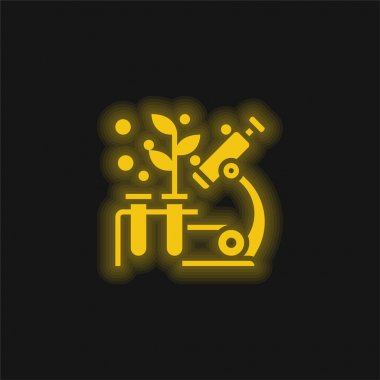 Biology yellow glowing neon icon stock vector