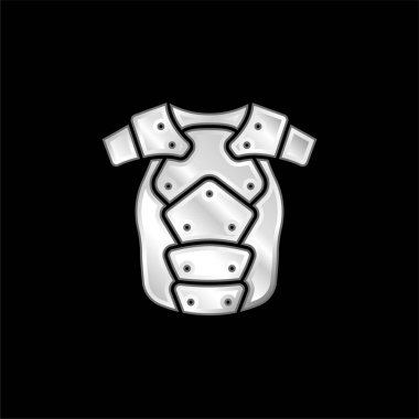 Armor silver plated metallic icon stock vector