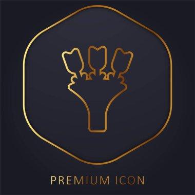 Bouquet golden line premium logo or icon stock vector