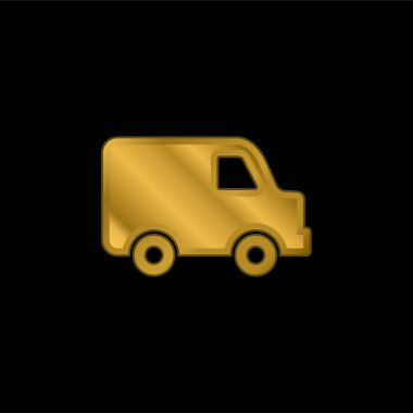 Black Delivery Small Truck Side View gold plated metalic icon or logo vector stock vector
