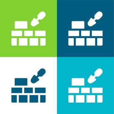 Brick Wall Flat four color minimal icon set stock vector