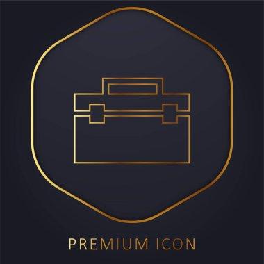 Black Portfolio golden line premium logo or icon